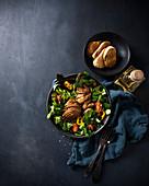 Roasted mock duck (vegan duck on seitan base) on salad
