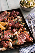 Chicken saltimbocca with roasted grapes and herbed linguine