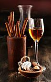 Homemade liqueur with cinnamon, rock sugar and wine spirit