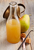 Homemade Christmas pear syrup with gingerbread spice and vanilla