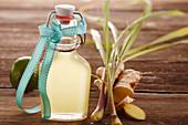 Homemade lime ginger syrup with lemongrass