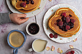 Pancakes with berries and jam