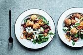 Falafel with vegetable salad, yoghurt sauce and mint