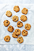 Breakfast cookies mead with oats, coconut, raisins and maca powder
