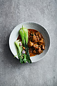 Lamb curry with bok choi