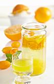 Selbstgemachter Orangen-Kumquat-Likör mit Orangen, Vanille und Korn