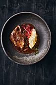 Braised beef with mashed black salsify and blood oranges