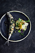 Fried mackerel with apples and fresh coriander
