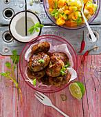 Caribbean jerk meatballs with mango salsa
