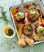Rosemary meatballs with mozzarella and orange and basil pesto
