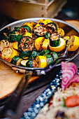 Roasted green and yellow courgette with sage