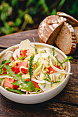 Fennel and melon salad with chilli and dandelions