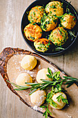 Potato dumplings with herbs and nut butter