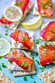 Crackers with cream cheese and salmon gravlax, lemon and green onions