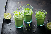 Green smoothies with avocado cress