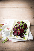 Beetroot with lentils, sour cream and cress