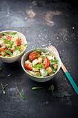 Quinoa salad with tomatoes, mozzarella and microgreens