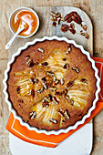 Pear cake with ginger and pecans
