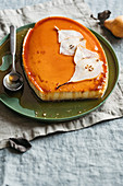 Crème caramel with pears and Parmesan cheese
