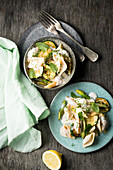 Shell pasta with asparagus and courgette