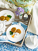 Potato and chive rosti with poached eggs