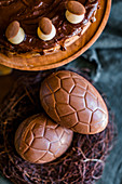 Simnel cake and chocolate eggs for an Easter high tea