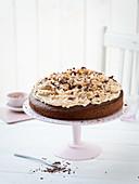 Chocolate cake with peanut cream