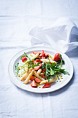 Strawberry and asparagus salad with rocket