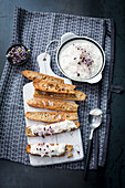 Toasted bread with radish dip and sprouts