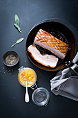 Pork belly with citron chutney