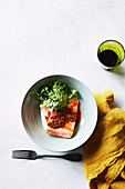 Ocean trout with harissa and yoghurt