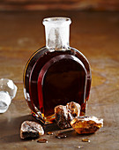 A bottle of homemade brown rock sugar syrup