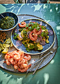 Avocado salad with cilantro pesto and grilled shrimp