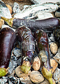 Whole aubergines on glowing coals