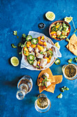 Kingfish ceviche with mango, jalapeno and nachos