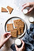 Homemade crackers being prepared