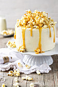 Popcorn cake with salted caramel sauce