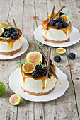 No Bake cheesecake with caramel sauce, figs and blackberries