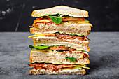 Sandwich mit Käse, Schinken, Prosciutto, frischem Salat, Tomaten und Gurken