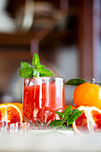 Blood Orange Cocktail with Mint Garnish
