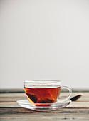 A tea bag in a cup