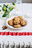 Oat cookies served with milk