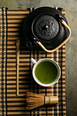 Teapot, Matcha tea and bamboo whisk
