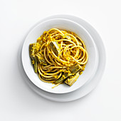 Bucatini with artichokes, shallots and turmeric