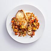 Fried swordfish with caponata