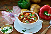 Goulash soup with peppers and potatoes
