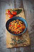 Ratatouille with fregula and fresh herbs (vegan)