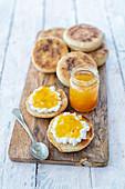 English muffins with cream cheese and bitter orange jam