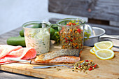 Salmon with cucumber and lentil salad
