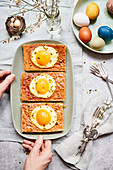 Fried egg cake for Easter